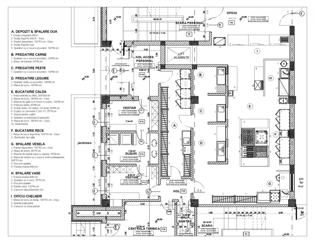 proiect, design, plan bucatarie profesional, restaurant, hotel, amenajare, HACCP  Proiectare proiect bucatarie restaurant 1024x791